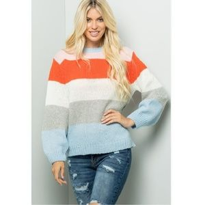 NWT Colorful Striped Balloon Sleeve Sweater